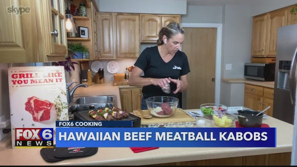 A tropical spin to a grill-out classic: See how to make Hawaiian Beef Meatball Kabobs
