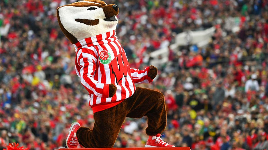 PASADENA, CA - JANUARY 01: Bucky Badger looks on during the Rose Bowl game between the Wisconsin Badgers and the Oregon Ducks on January 1, 2020 at the Rose Bowl in Pasadena, CA. (Photo by Brian Rothmuller/Icon Sportswire via Getty Images)