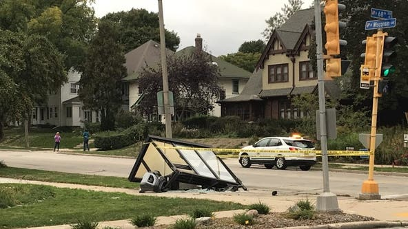 Driver, 2 passengers hurt in crash involving bus shelter in Wauwatosa