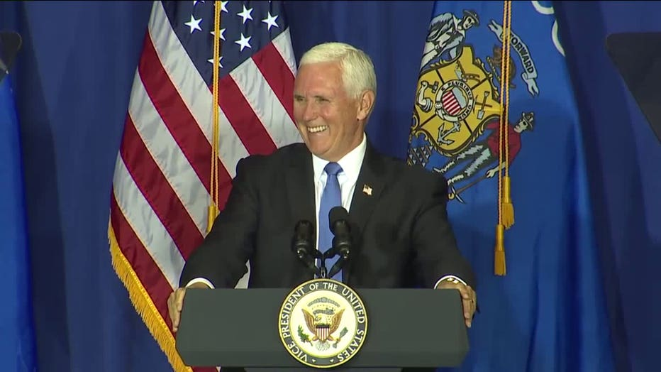 Vice President Mike Pence campaigns in Janesville, Wis.