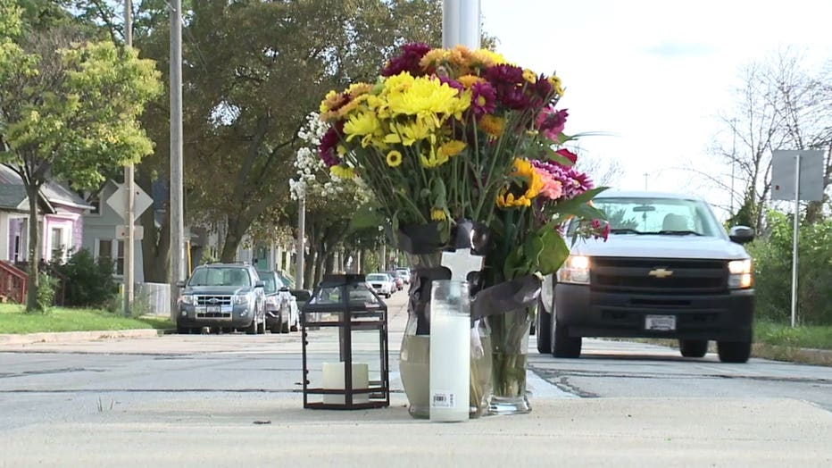 Memorial for Justus Bornefeld-Ettmann, a German man fatally shot in Milwaukee, near 4th and Greenfield