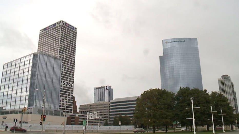 U.S. Bank building in downtown Milwaukee; Northwestern Mutual building in downtown Milwaukee