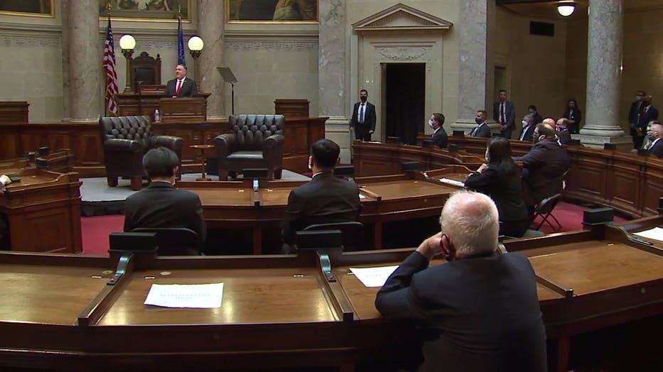 U.S. Secretary of State Mike Pompeo speaks in the Senate chamber