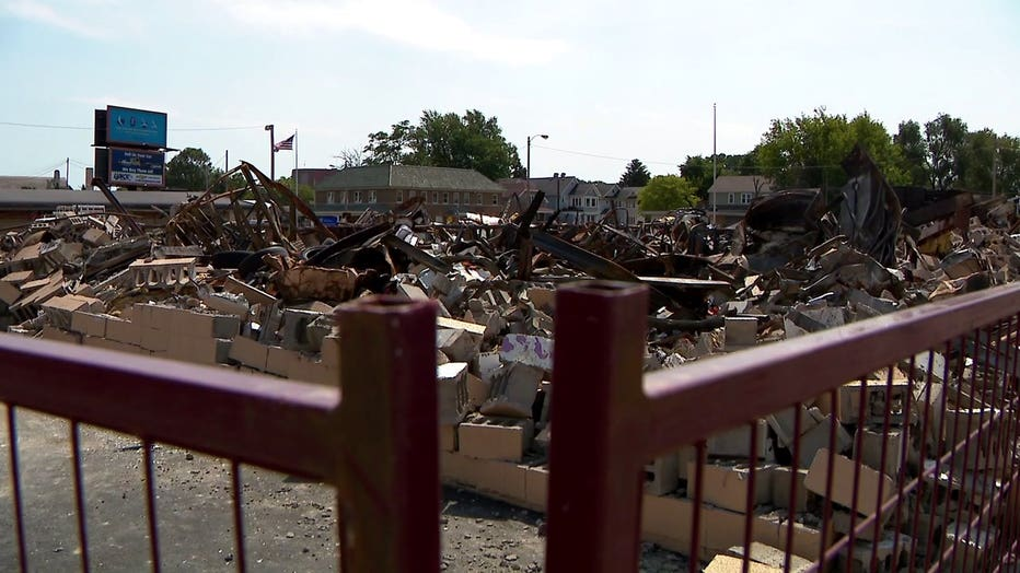 Building destroyed in Kenosha after unrest following the shooting of Jacob Blake