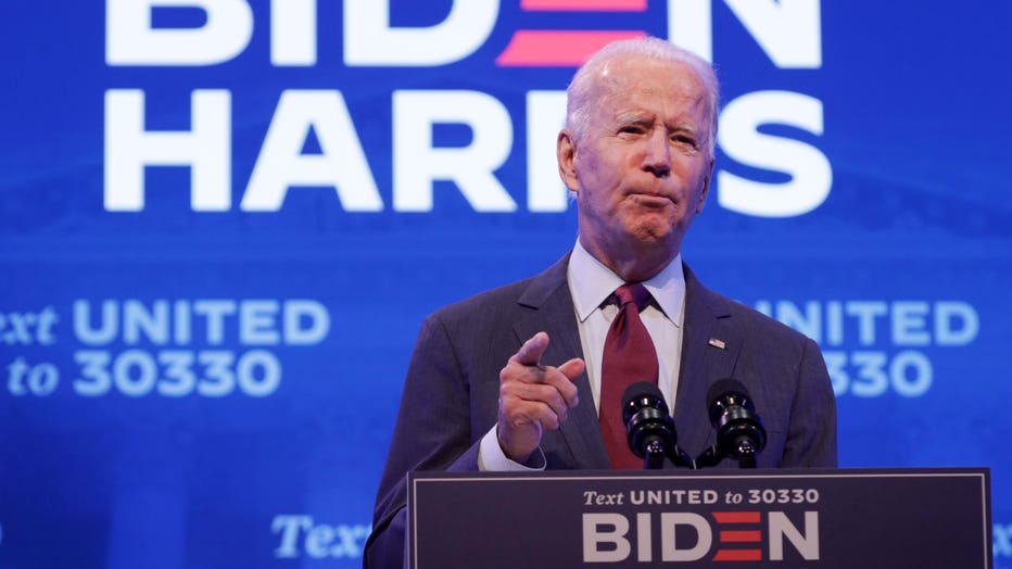 Democratic presidential nominee Joe Biden speaks during a campaign event on Sept. 27, 2020 in Wilmington, Delaware. (Photo by Alex Wong/Getty Images)