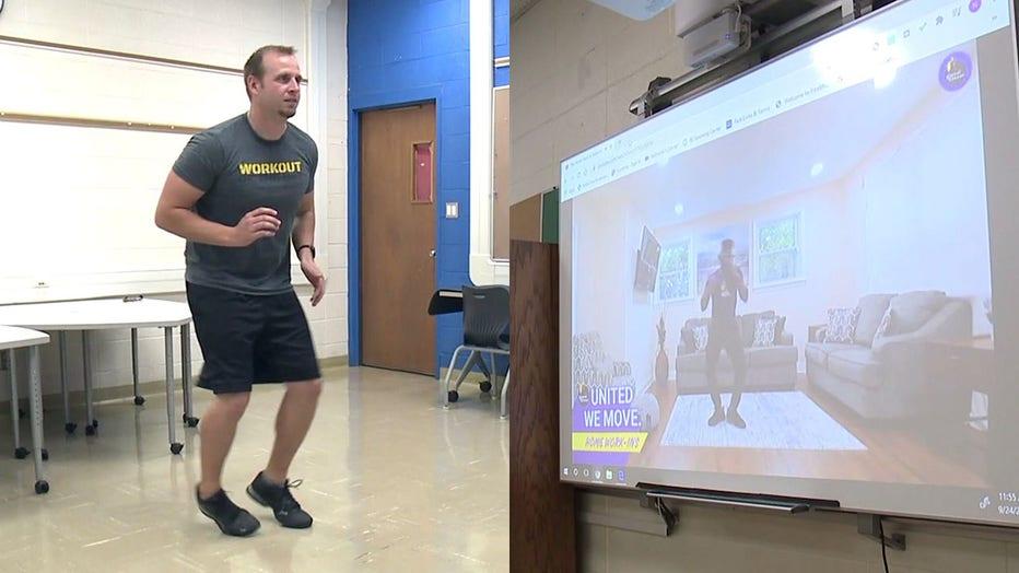 Nicholas Hunt teaches physical education virtually at Walden High School in Racine