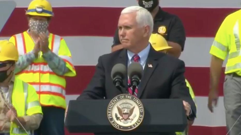 Vice President Pence speaks to supporters in La Crosse, Wis.