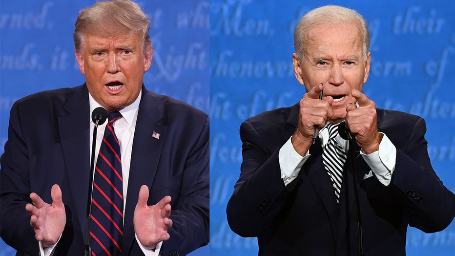 Donald Trump and Joe Biden face off.
