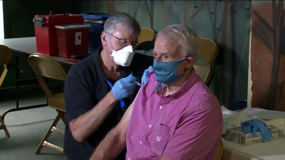 Milwaukee Mayor Tom Barrett receives flu vaccination