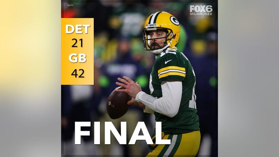 Green Bay Packers beat Detroit Lions at Lambeau Field