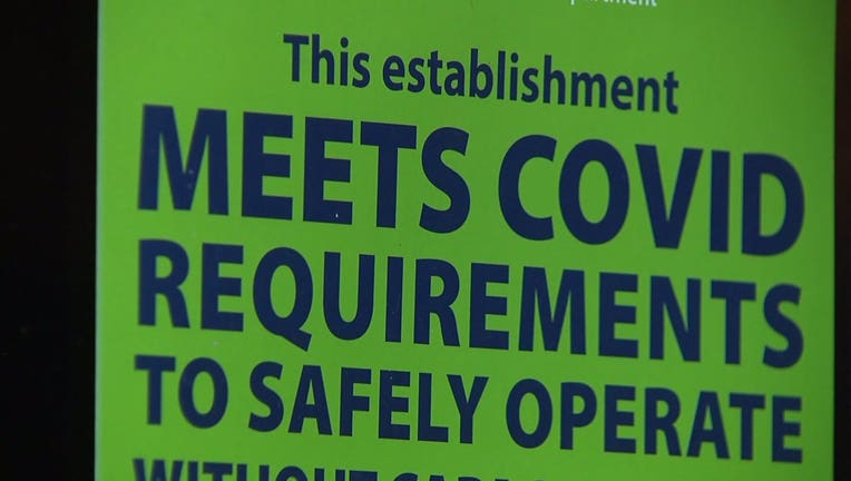 Milwaukee Health Department placard denoting an approved COVID-19 safety plan for bars and restaurants