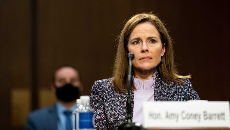 Supreme Court nominee Judge Amy Coney Barrett testifies before the Senate Judiciary Committee on the third day of her Supreme Court confirmation hearing on Capitol Hill on Oct. 14, 2020 in Washington, D.C. (Photo by Anna Moneymaker-Pool/Getty Images)