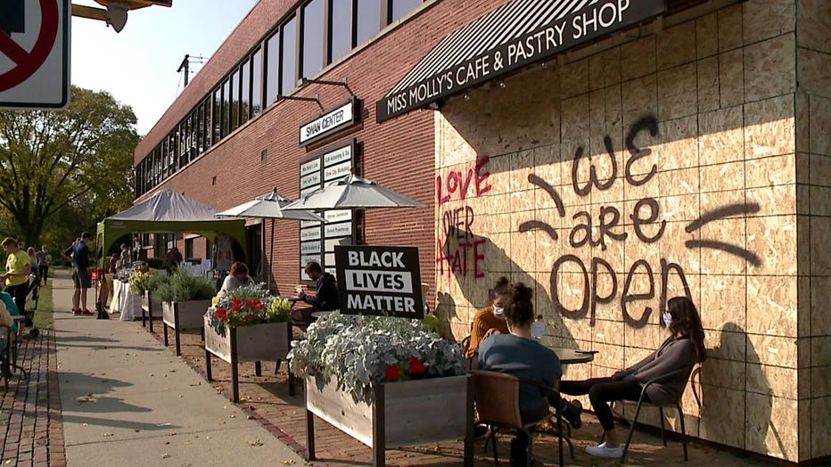 Miss Molly's Cafe, damaged amid unrest that followed protests in Wauwatosa