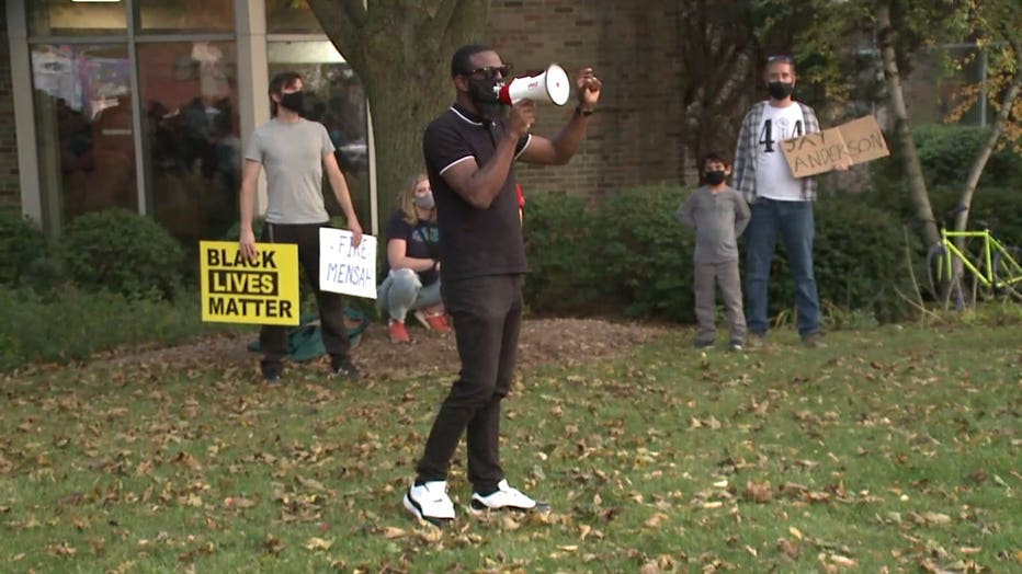 State Rep. David Bowen at a Wauwatosa protest after the decision not to file charges against Officer Joseph Mensah in Alvin Cole's death