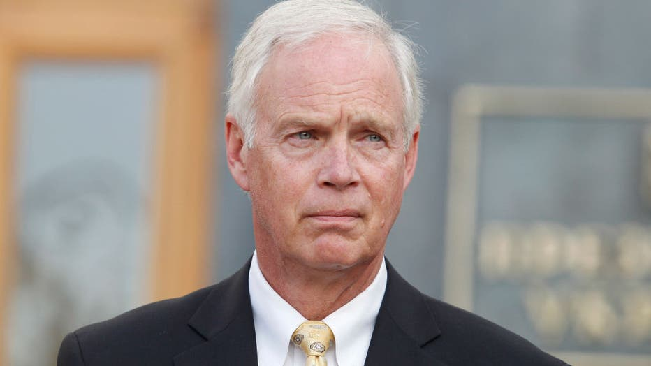 FILE - United States Senator Ron Johnson (Republican of Wisconsin) speaks to journalists with joint a press conference with United States Senator Chris Murphy (Democrat of Connecticut) (not seen) after their meeting with Ukrainian President Volodymyr Zelensky, outside the Presidential Office in Kiev, Ukraine, on 5 September, 2019.