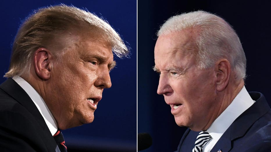 This combination of pictures shows President Donald Trump (L) and Democratic Presidential candidate former Vice President Joe Biden squaring off during the first presidential debate at the Case Western Reserve University and Cleveland Clinic in Cleveland, Ohio on Sept. 29, 2020. (Photo by JIM WATSON,SAUL LOEB/AFP via Getty Images)
