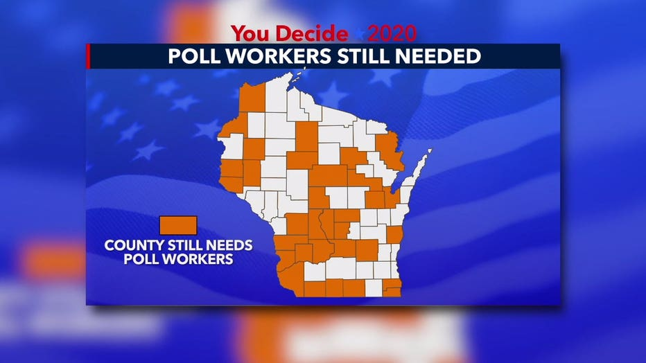 Wisconsin counties in need of poll workers for the 2020 election