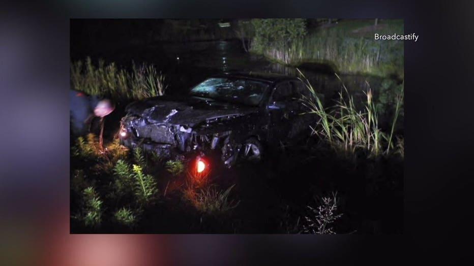 Scene of OWI crash involving off-duty Grafton police officer