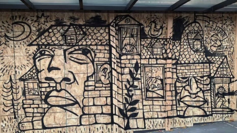 Plywood becomes artwork after days of protests in Wauwatosa