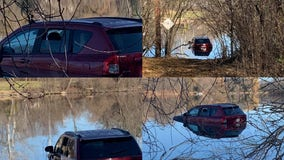 Driver treated after vehicle went into river in Mequon
