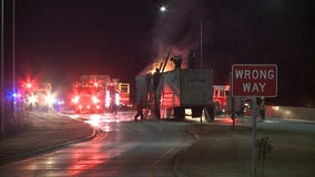 Semi fire temporarily shut down portion of I-43 Wednesday morning