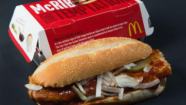 FILE - A photo of a McDonald's McRib sandwich, Nov. 2, 2010.