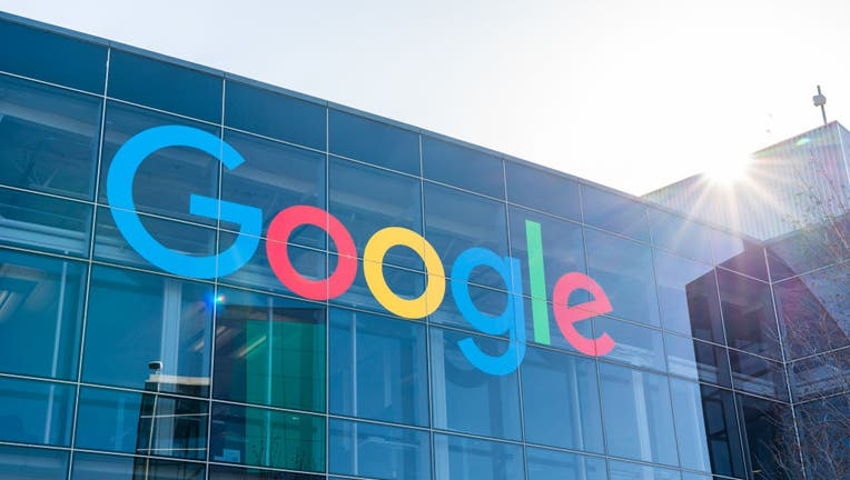 American multinational technology company Google logo seen at Googleplex, the corporate headquarters complex of Google and its parent company Alphabet Inc.