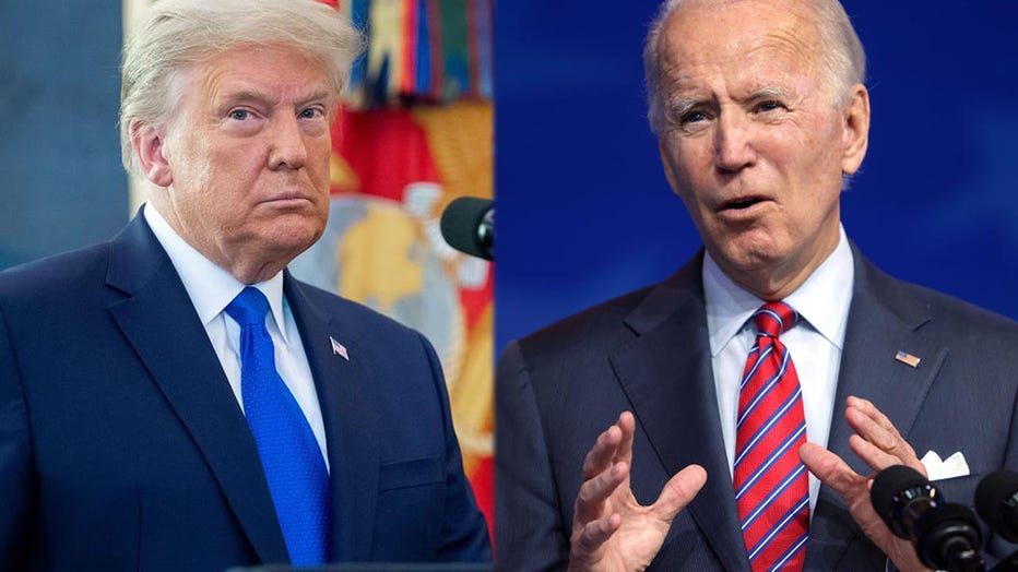 (LEFT) President Donald Trump looks on during a ceremony presenting the Presidential Medal of Freedom to wrestler Dan Gable in the Oval Office of the White House in Washington, D.C. on Dec. 7, 2020. (RIGHT) President-elect Joe Biden speaks on November job numbers at the Queen theater on Dec. 4, 2020 Wilmington, Delaware. (Photos by SAUL LOEB/AFP & Alex Wong via Getty Images)
