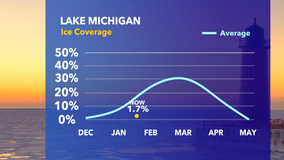 Lake Michigan ice coverage is well below average so far this year