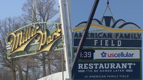 American Family Field signs hoisted into place at home of Brewers