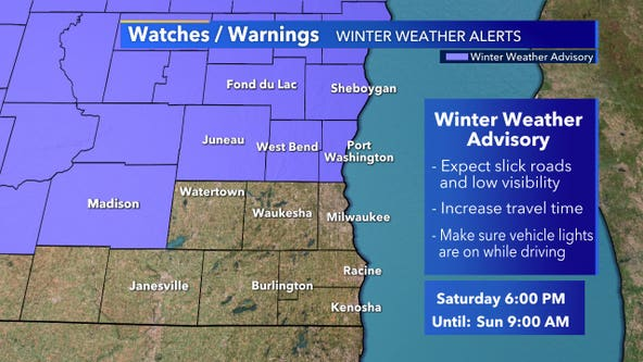 Winter weather advisory for part of SE WI begins 6 p.m. Saturday