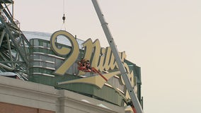 Large Miller Park sign coming down from the home of the Brewers