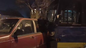 Vehicle strikes MCTS bus, pushing it into multiple parked vehicles