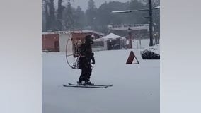'Long live Fan Man': Skier propels through heavy snow in with high-powered fan
