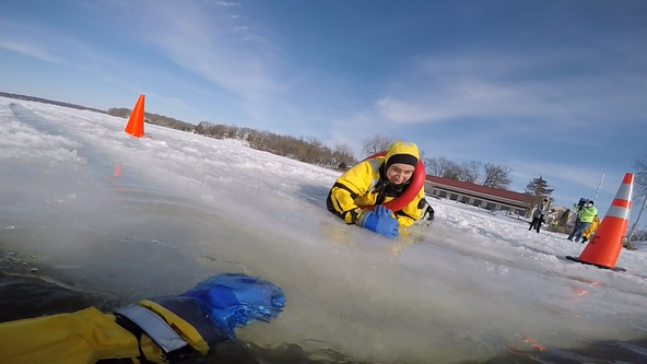 Racine County fire departments hold ice rescue training