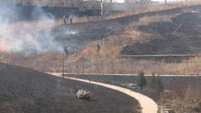 Brush fire in Milwaukee's Menomonee Valley