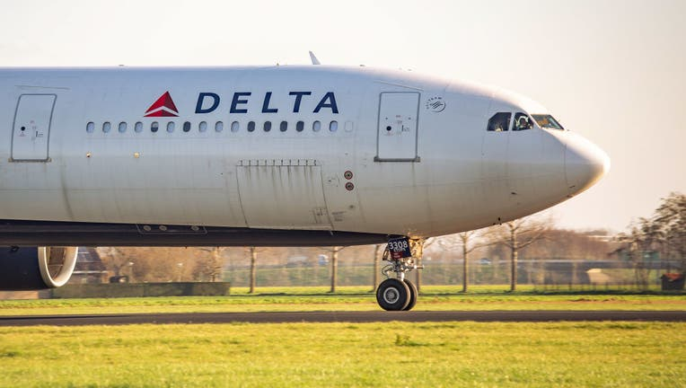 FILE - A Delta Air Lines Airbus A330 aircraft is pictured on Nov. 18, 2020 in Amsterdam, Netherlands. (Photo by Nicolas Economou/NurPhoto via Getty Images)