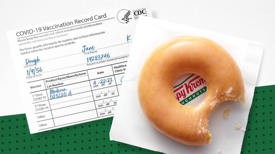 Customers who show a valid COVID-19 Vaccination Record Card can get one free glazed doughnut at Krispy Kreme each day for the rest of 2021. (Photo credit: Provided / Krispy Kreme)