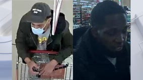 Suspects attempted to leave Woodman's with 2 full shopping carts, did not pay