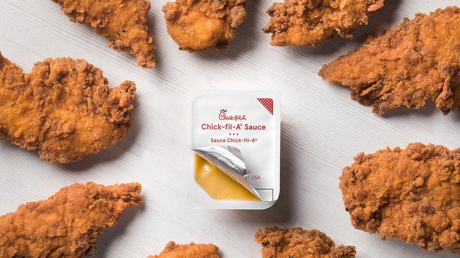 The Spicy Chick-n-Strips will come seasoned with a spicy blend of peppers, offered as a three or four-strip entrée as well as a catering choice. (Chick-fil-A)