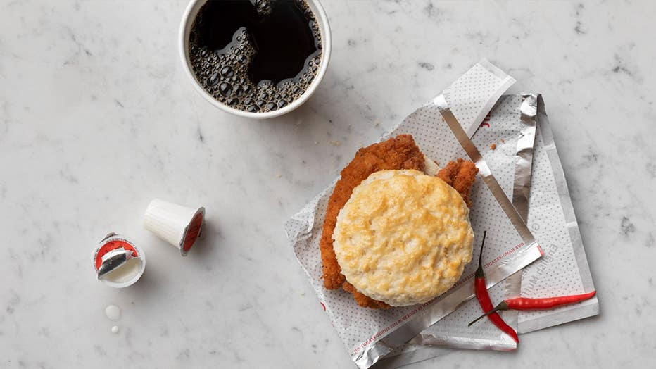 The Spicy Chick-n-Strips Biscuit will be feature two spicy, seasoned strips on a buttered biscuit and grace breakfast menus, the restaurant said. (Chick-fil-A)