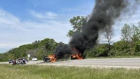 Vehicle fires near Johnson Creek after crash, Flight called