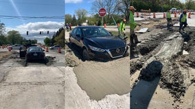 Caledonia construction zone confuses driver, ended up in wet concrete