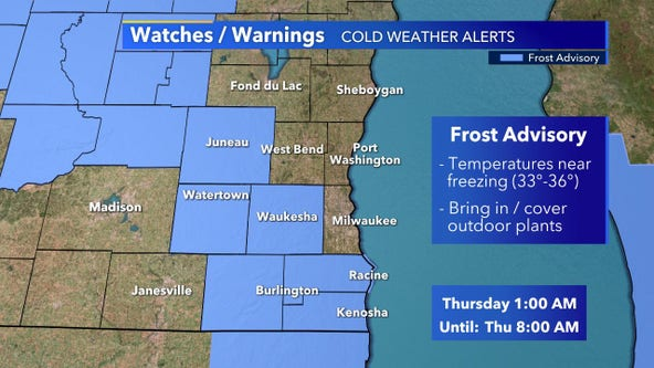 Frost advisory in southeast Wisconsin; 6 counties impacted