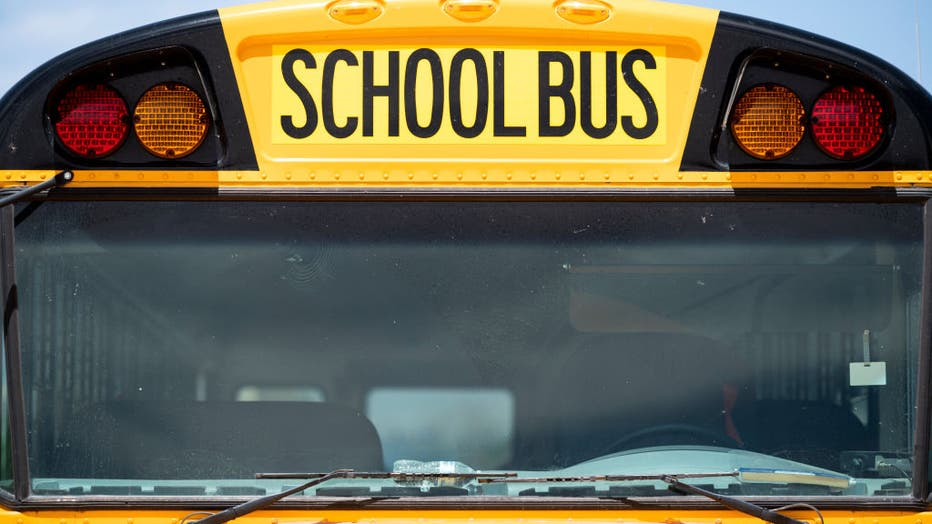 FILE - A school bus sits parked in Columbus, N.M., on April 11, 2021. (Photo By Bill Clark/CQ-Roll Call, Inc via Getty Images)