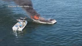 2 on board boat that caught fire on Pewaukee Lake