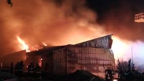 Fire destroys Ozaukee County barns, farm animals saved