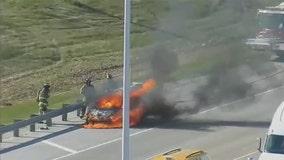 Car fire on I-94 near Drexel: video