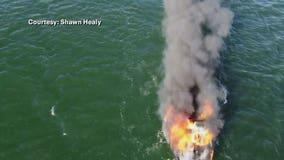 Boat fire on Pewaukee Lake, 2 on board