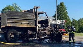 New Berlin dump truck fire, diesel leak at Kwik Trip